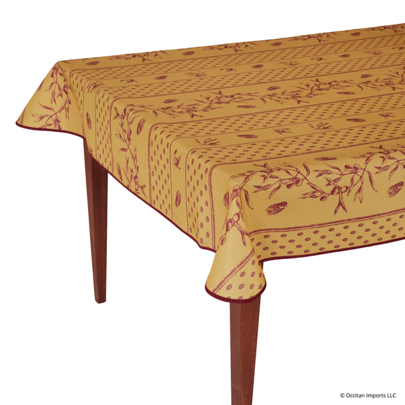 Cigale Yellow/Red Rectangular Easy Care Tablecloth