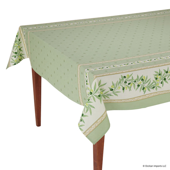 Ramatuelle Vert Rectangular French Tablecloth