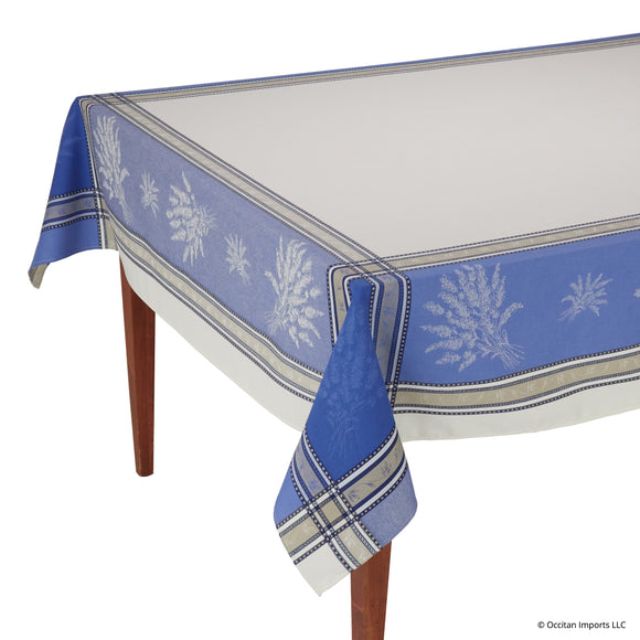 Senanque Ecru/Bleu Jacquard French Tablecloth