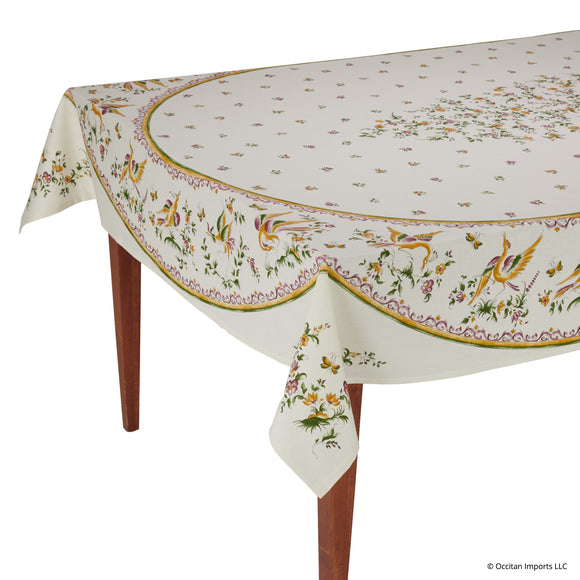 Moustiers Ecru/Rose Rectangular French Tablecloth