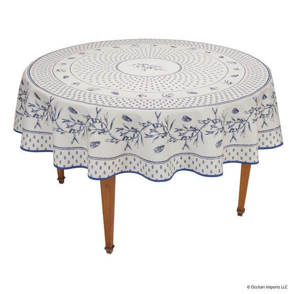Cigale Blue Round Easy Care Tablecloth