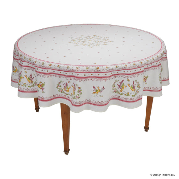 Moustiers Blanc/Rose Round French Tablecloth