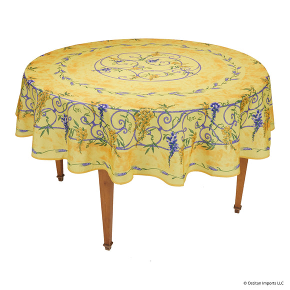 Wisteria Yellow Round Easy Care Tablecloth