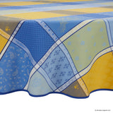 Valbonne Jaune/Bleu Jacquard Round French Tablecloth