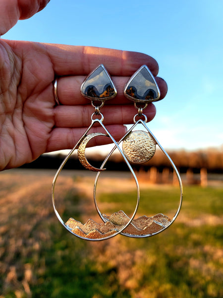 Mountain moonrise Maligano Jasper hoops
