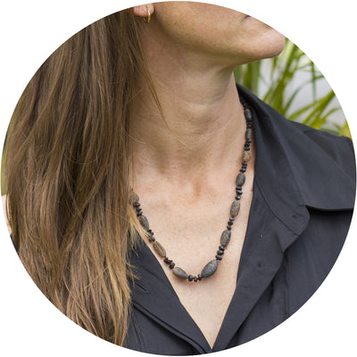 Adult Amber Necklace Raw - Charcoal