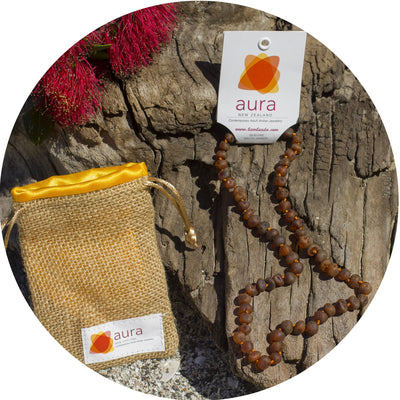 Adult Amber Necklace Raw - Cognac
