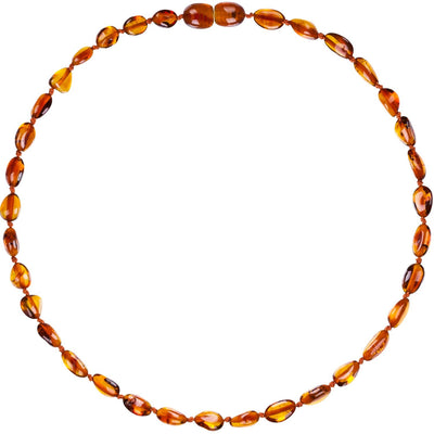 Baby Amber Necklace Bean- Cognac