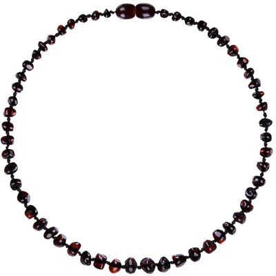 Baby Amber Teething Necklace - Dark Cherry
