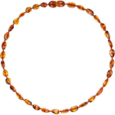 Child Amber Necklace Bean - Cognac