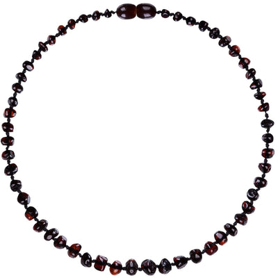 Child Amber Necklace Bud - Dark Cherry