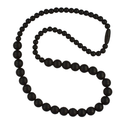 Silicone Teething Necklace, Round Bead - Black