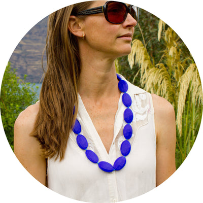 Silicone Teething Necklace - Seed Shape - Cobolt