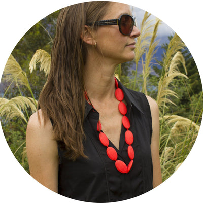Silicone Teething Necklace - Seed Shape - Red