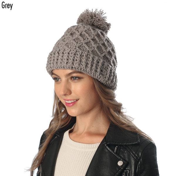 Witchy Poo Grey Lattice Knit Pom Pom Hat