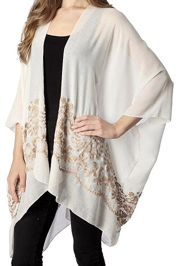 Witchy Poo's Ivory Embroidered Kimono