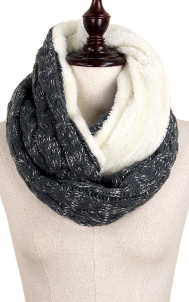 Witchy Poo's Gray Cable Knit and Fur Infinity Scarf