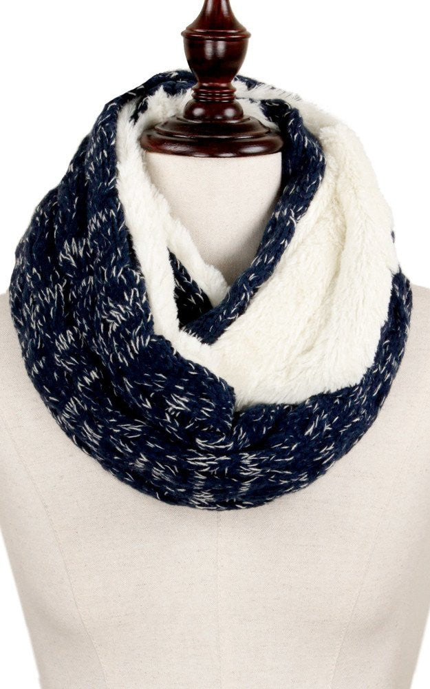 Witchy Poo's Navy Cable Knit and Fur Infinity Scarf