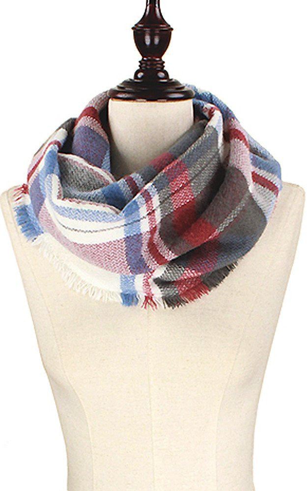 Red and Blue Plaid Infinity Scarf