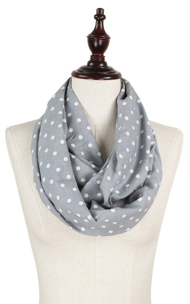 Witchy Poo's Gray & White Dot Infinity Scarf