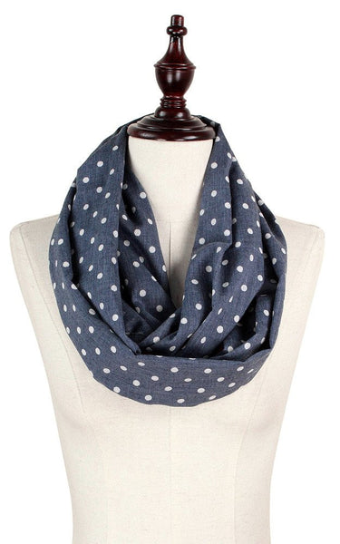 Witchy Poo Navy & White Dot Infinity Scarf