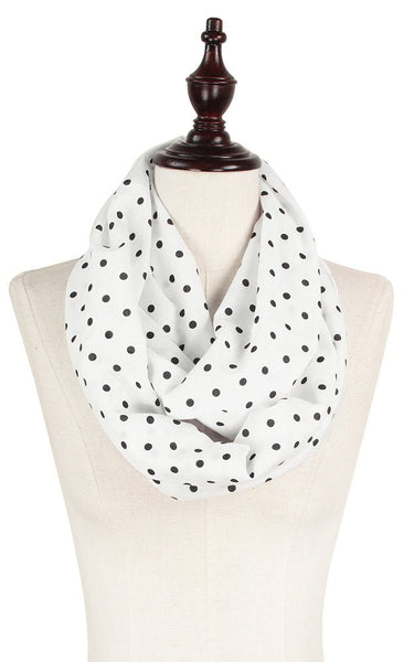 Witchy Poo  White & Black  Dot Infinity Scarf