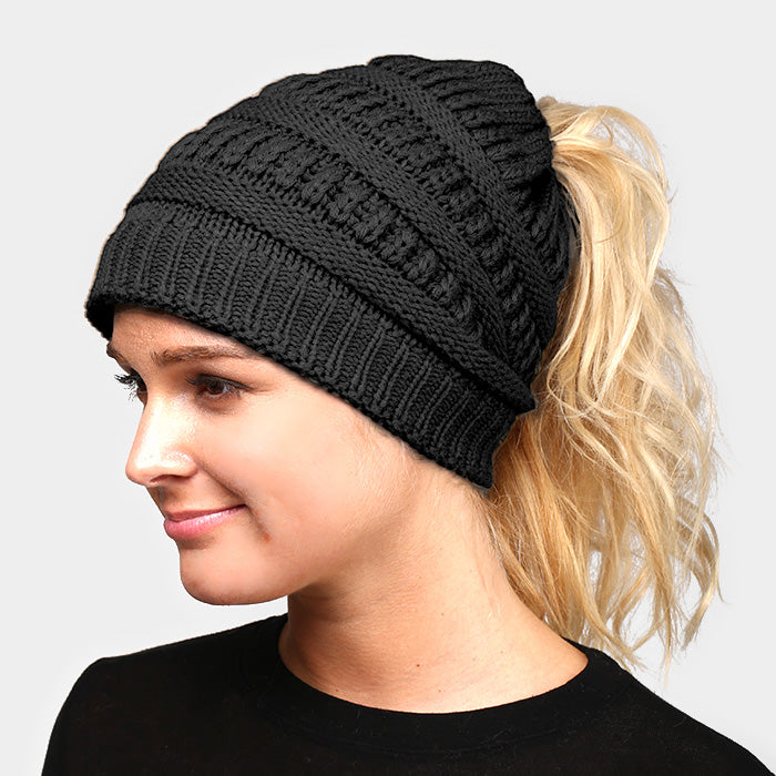 Witchy Poo's Black Ribbed Knit Pony Hat