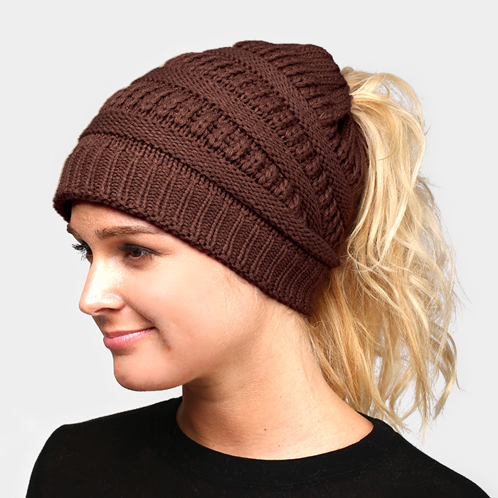 Witchy Poo's Brown Ribbed Knit Pony Hat