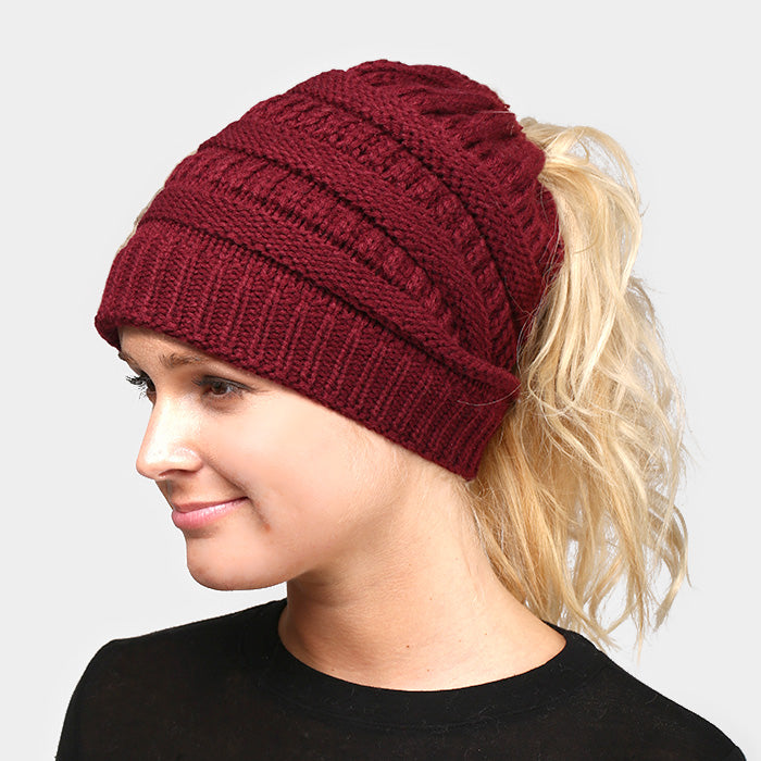 Witchy Poo's Burgandy Ribbed Knit Pony Hat