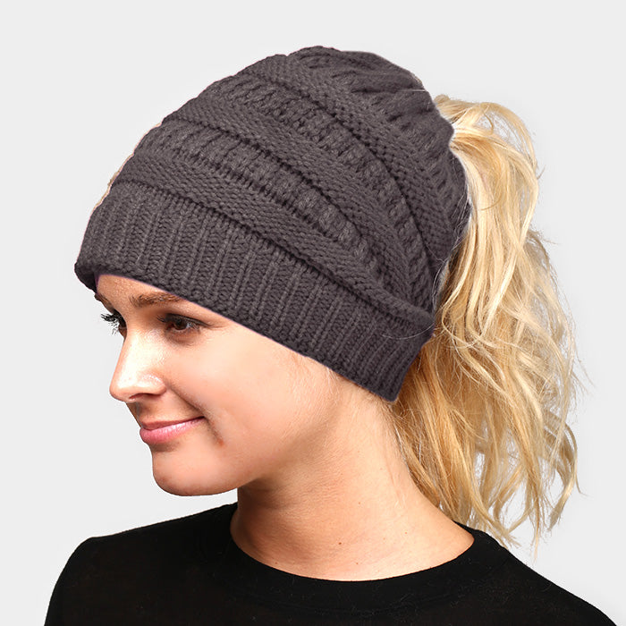 Witchy Poo's Charcoal Ribbed Knit Pony Hat