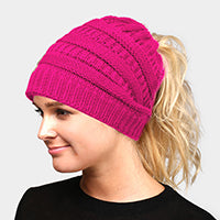Witchy Poo's Hot Pink Ribbed Knit Pony Hat