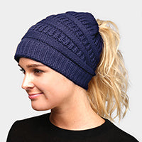 Witchy Poo's Blue Ribbed Knit Pony Hat