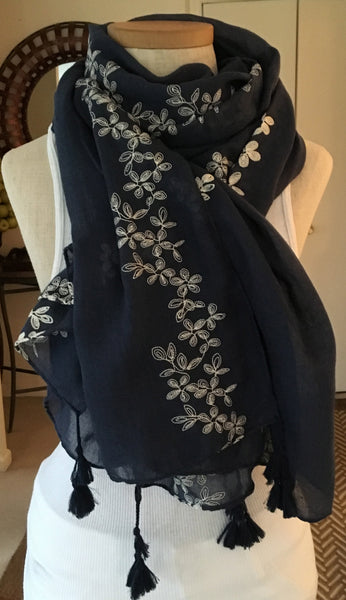 Witchy Poo's Sand Floral Embroidered Scarf with Tassels