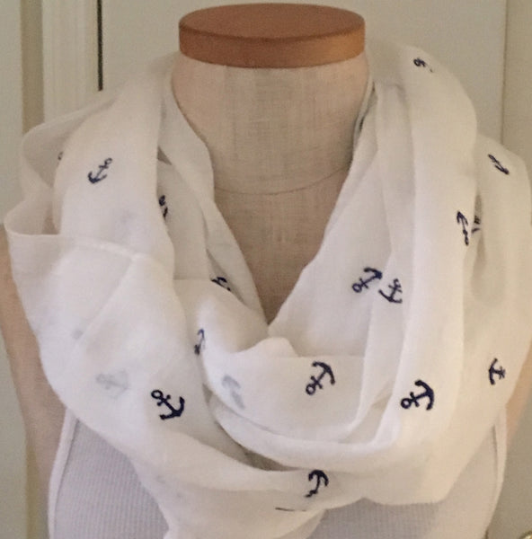 Witchy Poo's White Anchor Infinity Scarf