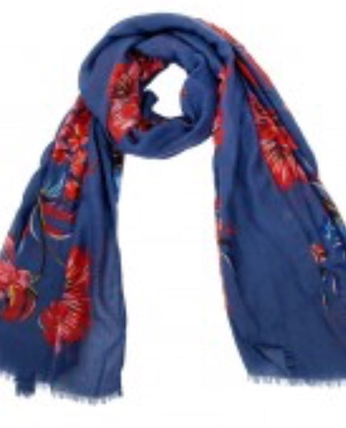 Witchy Poo's Blue Laura Floral Scarf