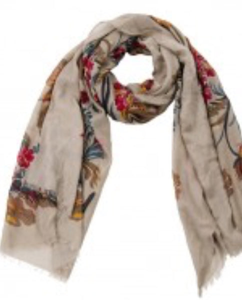 Witchy Poo's Khaki Laura Floral Scarf