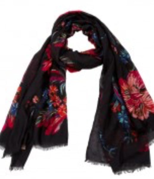 Witchy Poo's Black Laura Floral Scarf