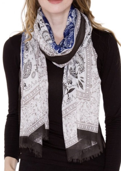 Witchy Poo Blue/Black Paisley Fringe Oblong Scarf