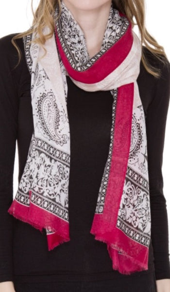 Witchy Poo Wine Paisley Fringe Oblong Scarf