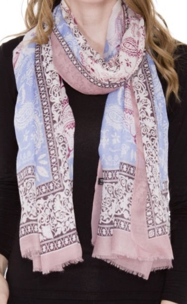 Witchy Poo Pink Paisley Fringe Oblong Scarf