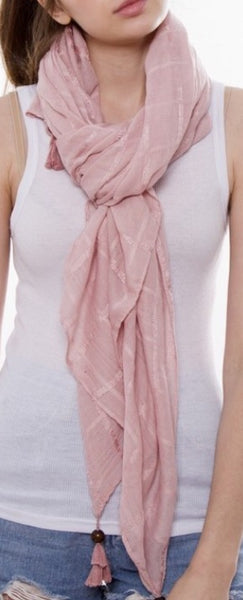 Witchy Poo Pink Tassel Bead Tip Scarf