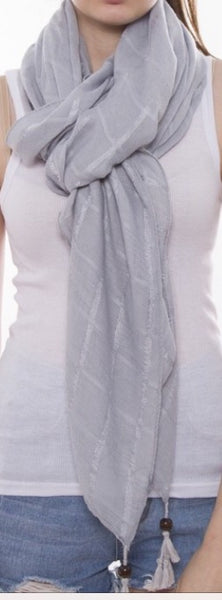 Witchy Poo Gray Tassel Bead Tip Scarf