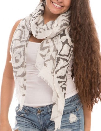 Witchy Poo's Gray/Black Abstract Scarf