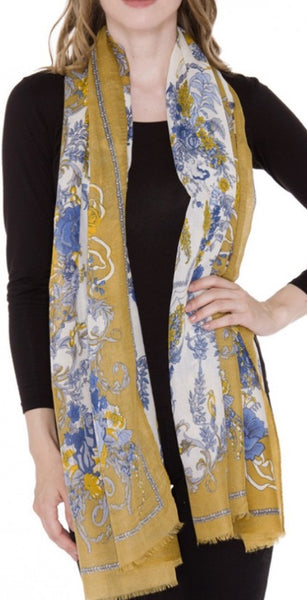 Witchy Poo's Mustard Lauren Floral Scarf