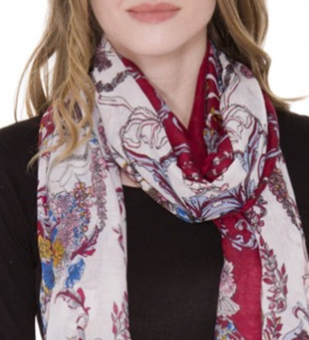 Witchy Poo's Red Lauren Floral Scarf