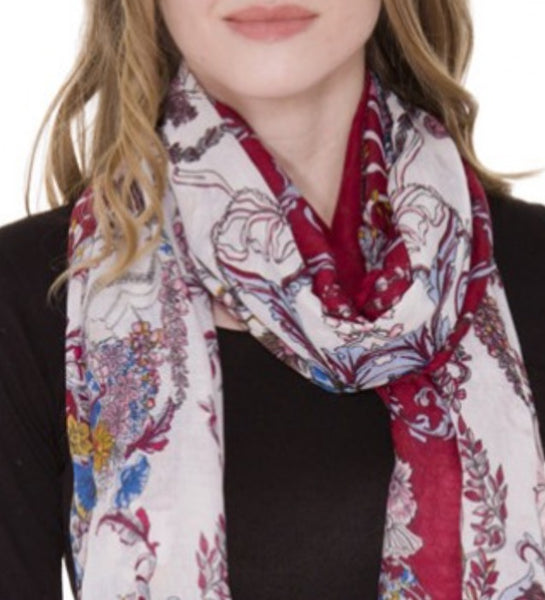 Witchy Poo's Navy Lauren Floral Scarf