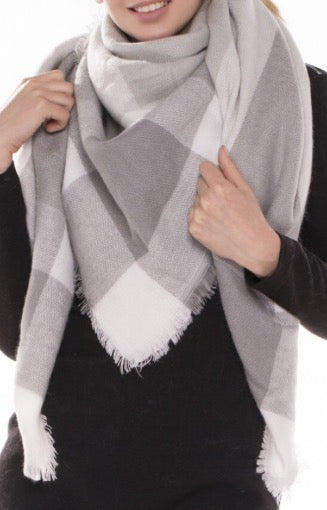 Witchy Poo's Gray Plaid  Blanket Scarf