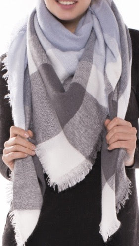Witchy Poo's Blue & Gray Plaid  Blanket Scarf