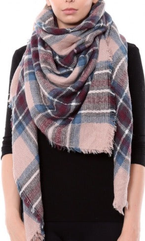 Witchy Poo's Pink Tartan Plaid  Blanket Scarf
