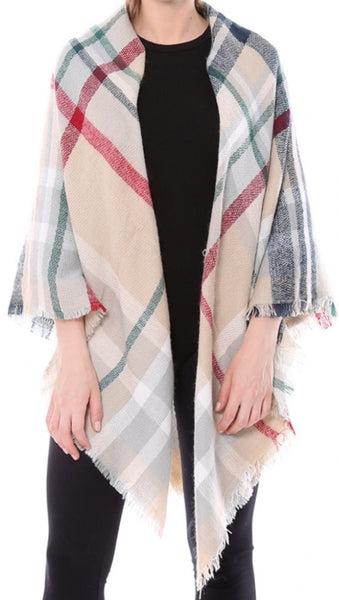 Witchy Poo's Ivory Tartan Plaid  Blanket Scarf